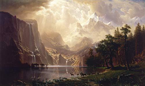 Berkin Arts Albert Bierstadt Giclée Leinwand Prints Gemälde Poster Reproduktion (In der Sierra Nevada)