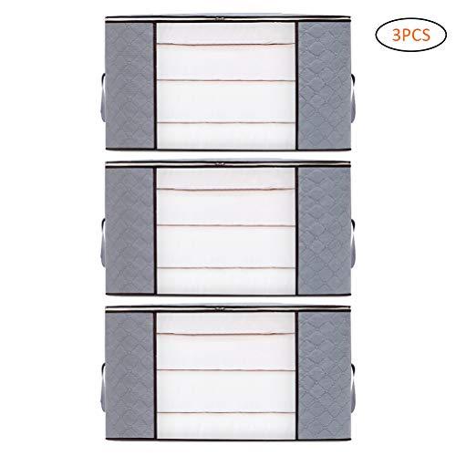 Macabolo Opbergdoos, 3 stuks, nongeweven stof, vouwbaar, opbergdoos, doorzichtig, venster, ritssluiting, organizer met handgrepen, 60 x 40 x 35 cm