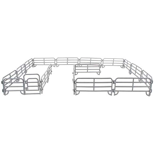 Toymany 18PCS Corral Fencing Panel Accessories Playset Includes 2 Gates Fences, Plastic Fence Toys for Barn Paddock Horse Stable or Farm Animals Horses Figurines, Educational Gift for Kids Toddler