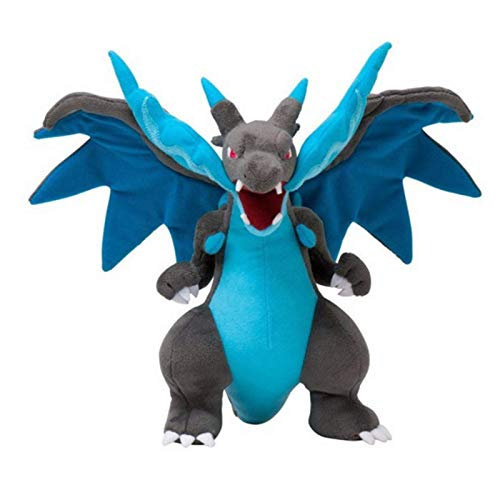Boufery Mega evolución Charizard Peluche 23cm, Lindo Anime Xy Charizard Muñeco de Peluche Suave, Cumpleaños Navidad Regalo para Niños, Azul