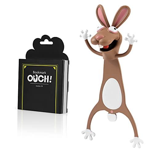 Witzige 3D Stereo Cartoon schön Tier Lesezeichen Lustiges Geschenk für Studenten Kinder tolles Geschenk (Hase)