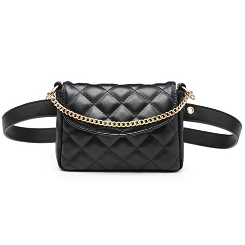 hysxm Lingge Chain Negro Cintura bolsillos novedades pequeñas cintura Packs Casual Simple...