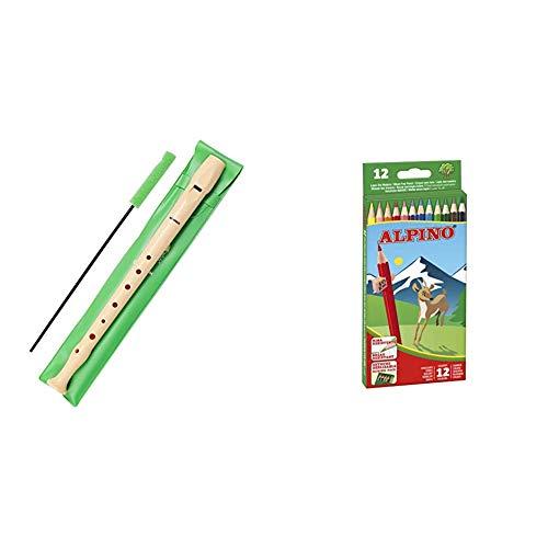 Hohner 9508 Flauta de Plástico + Alpino 654Lápices de colores