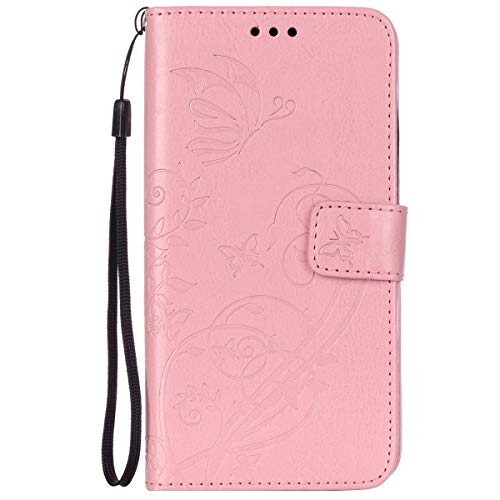 ISAKEN Huawei G8 Hülle, PU Leder Brieftasche Wallet Case Cover Ledertasche Handyhülle Tasche Schutzhülle mit Handschlaufe Standfunktion für Huawei G8 / Huawei GX8 - Blume Schmetterling Pink