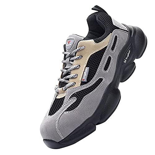 Zapatos de Trabajo Anti-presión,Seguridad para Hombre con Puntera de Acero Zapatillas de Seguridad Trabajo, Calzado de Industrial y Deportiva,Gray▁39