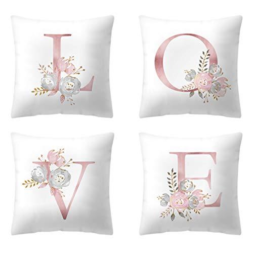 SOIMISS 4 Piezas Letras Juego de Almohadas Amor Alfabeto Fundas de Almohadas Decorativas Flores Fundas de Cojines Protectores de Almohadas Cuadrados para Sofá Dormitorio Coche