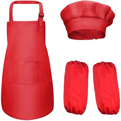 Dokpav 4-8 Años Delantal Infantil + Gorro y Manguitos de Cocinero para Niños y Niñas Ajustable Infantil Delantales Niños con 2 Bolsillo para Pintura Artística Actividades en el Aula y Cocina (Rojo)