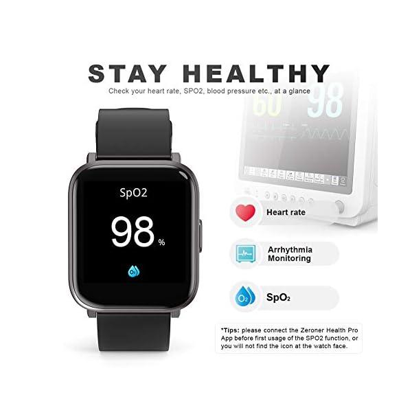 MOTOK - Reloj inteligente inteligente para hombre y mujer, 5 ATM, resistente al agua, frecuencia cardiaca y oxígeno… 4