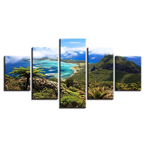 WLHAL Modulaire canvas schilderij 5 stuks Berg strand en blauwe hemel witte wolk Natuurlijke zeeblik gedrukte afbeelding Decor Wandkunst Slaapkamer/40X60cmX2 40X80cmX2 40X100cm