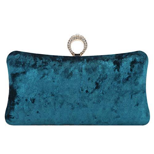 Fawziya Clutch Purse Rhinestone Velvet Evening Bags For Women-Emerald Green