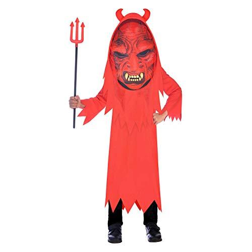 amscan Disfraz infantil de Devil Big Head 8-10, color rojo, 8 A 10 Aos (9907128)
