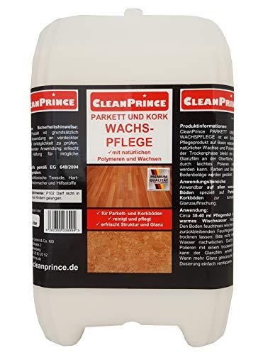 CleanPrince 5 Liter Parkett- und Kork Wachspflege | Reinigungsmittel Parkettwachs Korkwachs Pflegewachs Reinigung Pflegemittel wasserlösliche Wachse Polymere Korkböden Treppen Wax Fresh Glow flüssig