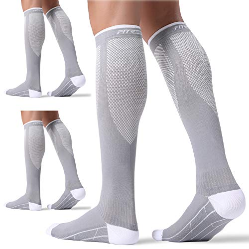 3 Pairs Compression Socks for Women and Men 20-30mmHg-- Circulation and Muscle Support Socks for Travel, Running, Nurse, Medical GREY L/XL