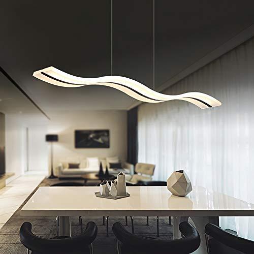 HBVAN LED Pendelleuchte Moderne Kronleuchter Deckenleuchten Welle LED Hängende Leuchte Höhenverstellbar Kronleuchter für Esszimmer Wohnzimmer Schlafzimme (3000K Warmweiß)