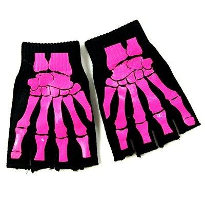 MIK funshopping Fingerlose Handschuhe Bone Hands Black-pink