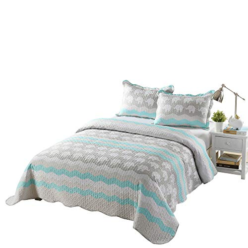 TT LINENS 2/3 Pcs Kids Quilt Set Lightweight Bedspread Decoration Throw Blanket Teens Boys Girls Bed Printed Bunk Bedding Coverlet Comforter Set Elephant Quilt A95 (Full/Queen)