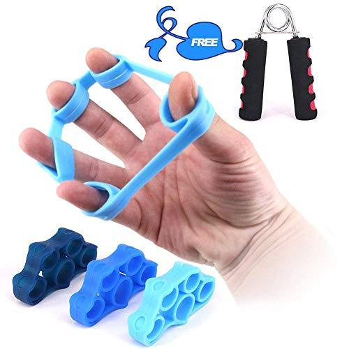 Kindax 3Pcs Finger Exerciser Elastici per L allenamento delle Dita Plus 1 Hand Grip Pinza Mano Kit Perfetto per Rinforzare Dita, Polso e Avambraccio