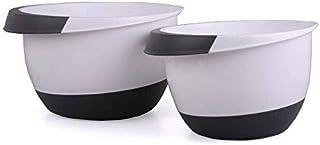 Bol mélangeur Set de 2 pièces plastique noir et blanc Jeu de 2 saladiers à fond antidérapant de 3,5 et 2l