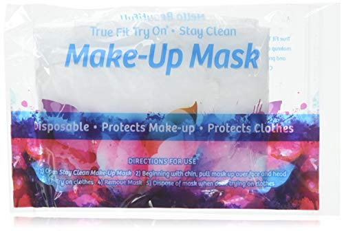 True Fit Try On Makeup Mask - Disposable Cosmetic Mask - Protects Face and Hair - 25 Pack