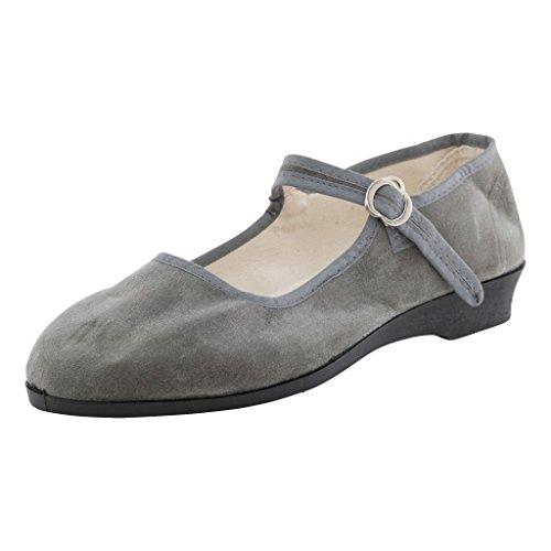 Japanwelt Original China-Samt-Ballerinas - Damen-Schuhe in vielen Farben Gr. 33-42 Trachtenschuhe in grau Größe 40