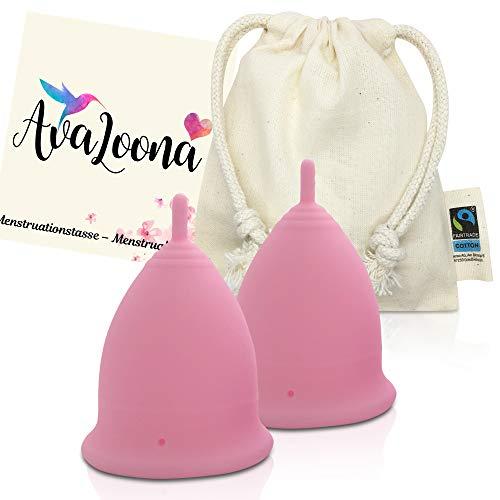 2 AvaLoona Menstruationstassen aus medizinischem Silikon - hygienisch, nachhaltig, antiallergen und vegan (Doppelpack) (klein, Rosa)