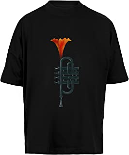 Trompeta Flor Unisex Camiseta Holgada Hombre Mujer Mangas Kortas - Unisex Baggy T-Shirt Black