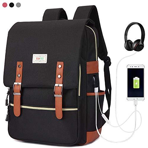 Mochila para computadora portátil de negocios con puerto USB, bolsa para computadora portátil universitaria, mochila escolar informal para hombres y mujeres, multicolor de 15.6 pulgadas (gris) (rojo)