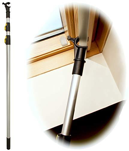 WinHux® Teleskop-Bedienungsstange, Teleskopstange, Fensterstange zum Öffnen und Schließen von VELUX® Dachfenster UND Jalousien 1,3 – 3,0 m SILBER