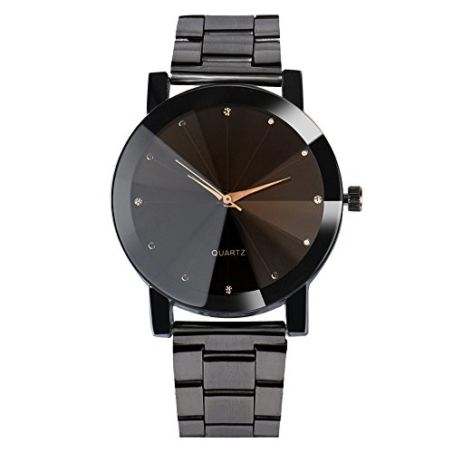 Mens Watch, LsvtrUS Luxury Crystal Stainless Steel Band Japan Quartz Analog Watches Black Dial Big Face Casual Business Watches