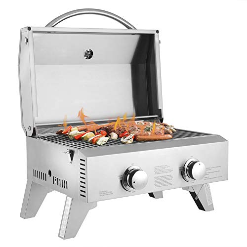 Tabletop Gas Grill 2-Burner Stainless Steel 2-Burner Gas Grill 2 Independently Adjustable Burners Portable Tabletop 20,000 BTU BBQ Grid with Buckles & Foldable Legs for Outdoor Camping Picnic, Silver Grills Propane