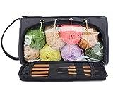 Pacmaxi Yarn Storage Knitting Organizer Lightweight Yarn Storage Bag with Holes Portable Knitting Organizer for Cotton Yarns, Crochet Hooks, Knitting Needles(Up to 10 Inch) (Dark Gray)