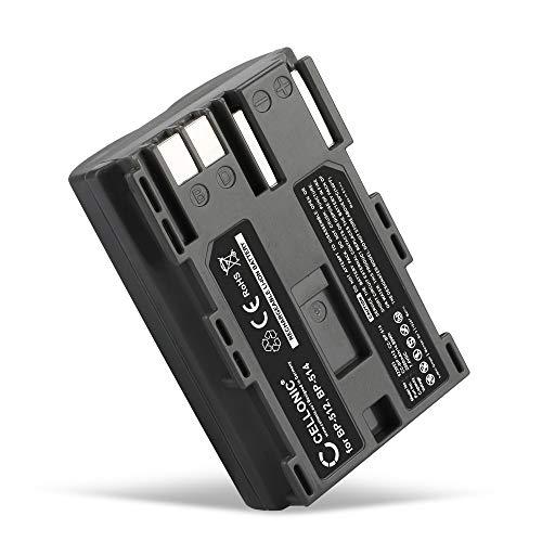 CELLONIC® Akku kompatibel mit Canon EOS 5D EOS 50D EOS 40D EOS 30D 300D EOS 20D EOS 10D PowerShot G3 G5 G1 MV730i MV700 MV630i MV600 ZR60 ZR80 ZR85, 2000mAh BP-511-512 -514 BP-508 Ersatzakku Batterie