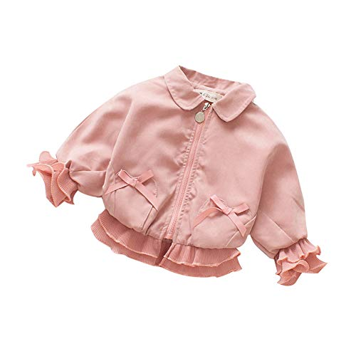 Baby Girl Clothes Long Sleeve Coats Sweaters Toddler Zipper Jackets Lace Princess Coats Petals Bow Winter Clothes (Pink, 2-4 Years)