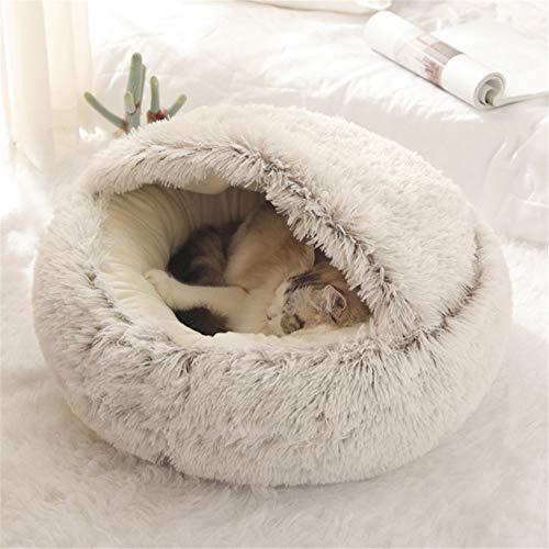 Nobrands flauschiges Katzenbett, rund, weiches Plüsch, Höhle mit Kapuze, Katzenbett, für den Winter, warm, Schlafkissen, rutschfest, maschinenwaschbar, für Katzen und Welpen