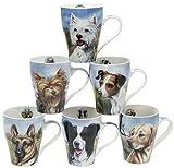 Becher mit Jack Russell Terrier, Golden Labrador, Deutscher Schäferhund, West Highland Terrier, Yorkshire Terrier und Border Collie, 6 Stück Becher für Hunderassen, 6 Stück