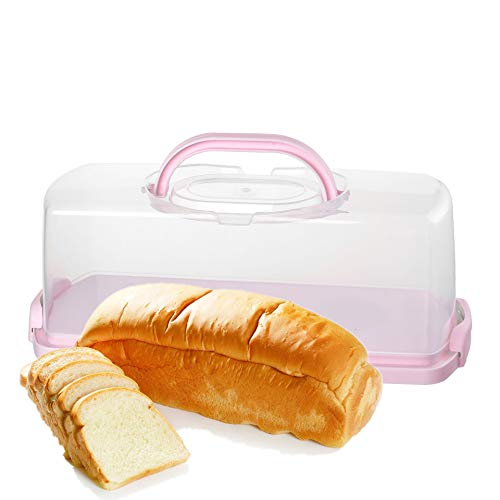 Bread Container Box- Red Storage Bin Loaf Bread Holder,Plastic Boxes for Bread Keeper, Cake Storage Saver,Kitchen Counter Airtight Bread Storage Containers Freezer Containers For Bread (Pink)