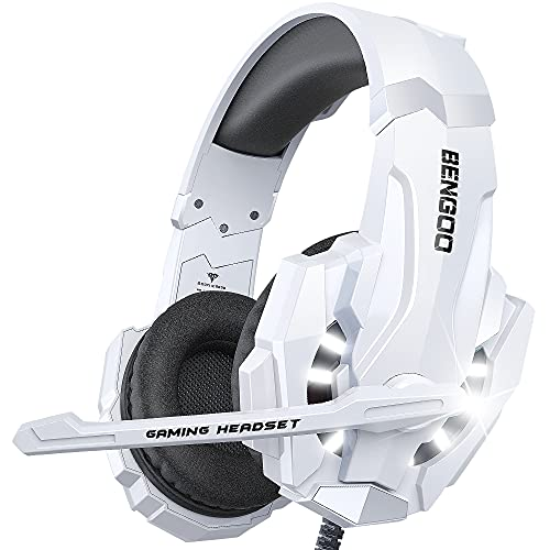 BENGOO Pro Gaming Headset for PS4 PS5 PC Xbox One Controller, Noise Cancelling Over Ear Headphones with Mic, LED Light, Bass Surround, Soft Memory Earmuffs for Laptop Mac - White