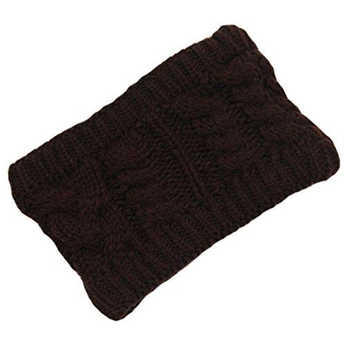 Les filles d'hiver tricoté bandeau tressé oreille plus chaud, Café