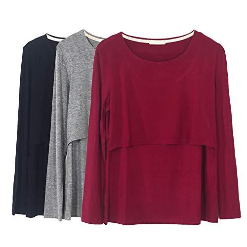 Smallshow Damen Langarm Schwanger T-Shirt Umstandsshirt Umstandstop Schwangerschaft Kleidung 3 Pack,Black/Grey/Wine,L