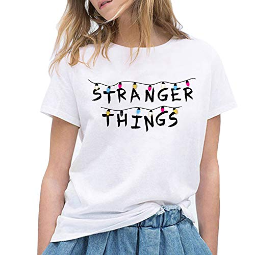 Camiseta Stranger Things, Camiseta Stranger Things Mujer Niña Impresión T-Shirt Abecedario Camiseta Stranger Things Temporada 3 Camisa de Verano Regalo Camisetas y Tops (36,XXL)