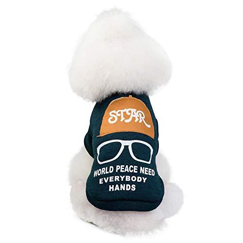 KSITH huisdierkleding voor honden, warm, teddy, herfst en winter, katjes, stof, S, Blue