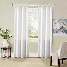 GIRASOLE Par de cortinas semiopacas de color liso para salón, dormitorio, balcón, ventana e interior, 2 paneles con trabillas (blanco, 70 x 240 cm)