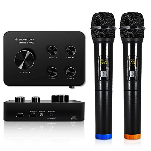 Sound Town 16 Channels Wireless Microphone Karaoke Mixer System, Supports HDMI ARC, Optical (Toslink), Smart TV, Media Box, PC, Bluetooth, Soundbar, Receiver, AUX (SWM15-PROS)