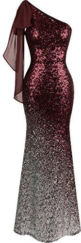 Angel-fashions Damen-Kleid, asymmetrisch, Schleife, Farbverlauf, Pailletten, Meerjungfrau, langes Ballkleid - Rot - Groß