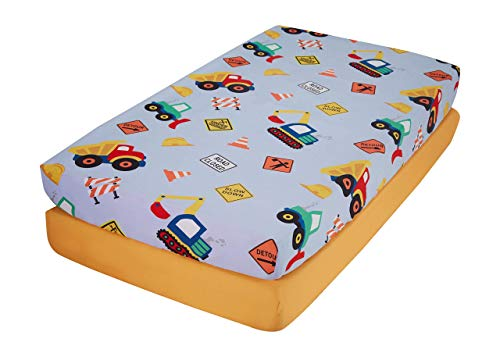 EVERYDAY KIDS 2 Pack Fitted Boys Crib Sheet, 100% Soft Microfiber, Breathable and Hypoallergenic Baby Sheet, Fits Standard Size Crib Mattress 28in x 52in, Nursery Sheet - Construction/Gold