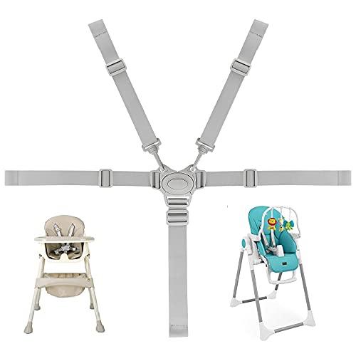RMENOOR - Cinturón de seguridad para bebé, arnés de 5 puntos, arnés universal para silla alta, correa de seguridad para bebé, arnés ajustable para silla alta, cochecito para niños (gris)