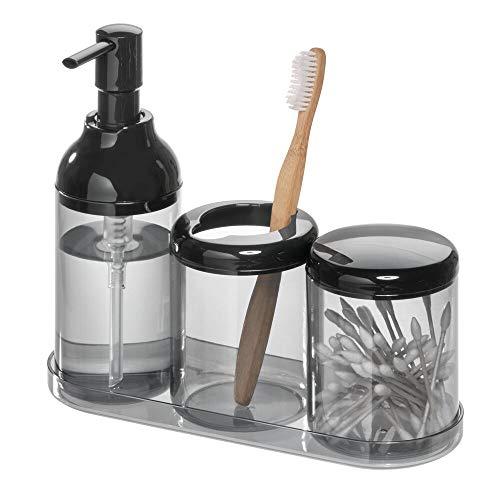 iDesign Set de baño, juego de baño con 4 accesorios de plástico...