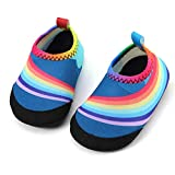 Panda Software Baby Boys Girls Water Shoes Infant Barefoot Quick -Dry Anti- Slip Aqua Sock for Beach Swim Pool Rainbow/6-12 Months M US Infant