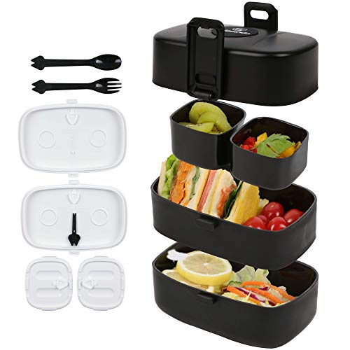 Fiambrera para niños, Bento Box Lunch Box con 4 compartimentos, de plástico apto para alimentos, portátil, para guardería, escuela, oficina