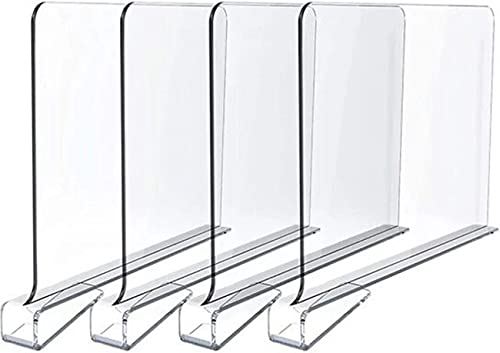 JLA Acrylic Shelf Divider (Set of 4) Separators Clear Shelf Divider Closets Shelf Separator to Organize Clothes, Books,Towels and Hats, Purses, Acrylic Shelf Divider for Home and Office